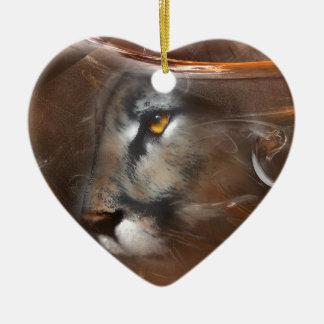 クーガー動物、野性生物、野性生物の芸術、自然、ギフト セラミックオーナメント