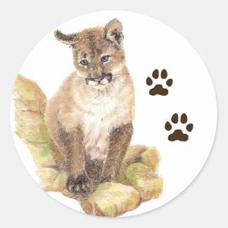 クーガー、ピューマ、オオヤマネコの動物のカブストラック ラウンドシール