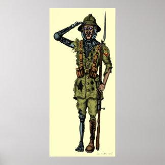 クールでおもしろいなサイボーグの兵士の芸術ポスター ポスター