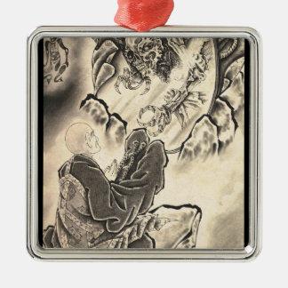 クールでクラシックなヴィンテージの日本の鬼の修道士の入れ墨 メタルオーナメント