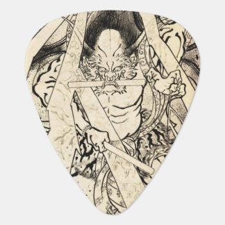 クールでクラシックなヴィンテージの日本の鬼インク入れ墨 ギターピック