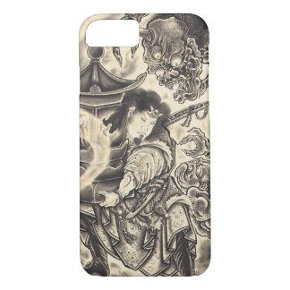 クールでクラシックなヴィンテージの日本の鬼インク入れ墨 iPhone 7ケース