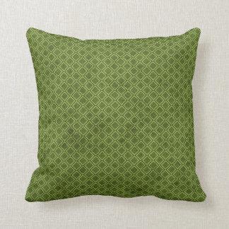 クールでグランジな緑の幾何学的なダイヤモンドのアーガイルパターン クッション