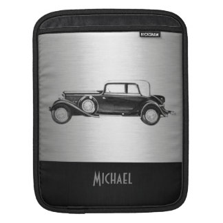 クールでシックで男らしく上品で古い車の銀色の黒 iPadスリーブ