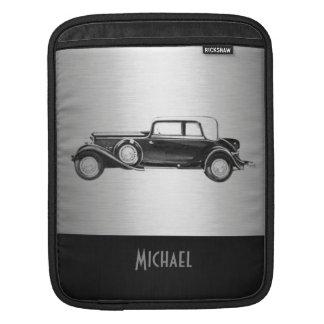 クールでシックで男らしく上品で古い車の銀色の黒 iPad スリーブ