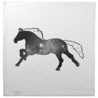クールでシンプルな馬の白黒星雲の銀河系 ナプキンクロス