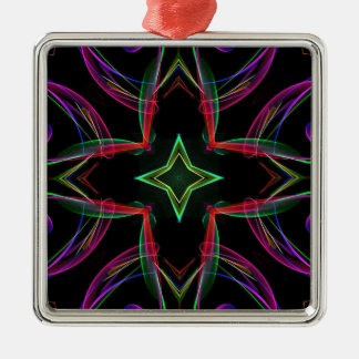 クールでファンキーなネオン赤い緑の紫色の抽象芸術 シルバーカラー正方形オーナメント