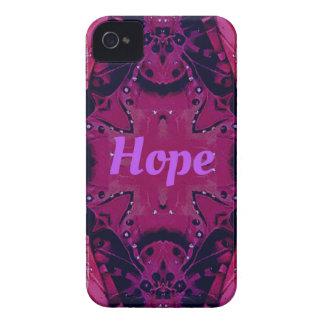 クールでポップ・アートのなマゼンタのラベンダーの「希望」の芸術的なデザイン iPhone 4 ケース