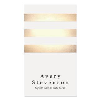 クールで模造のな金ゴールドホイルおよび白くストライプのなモダン スタンダード名刺