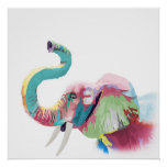 クールで素晴らしく粋で多彩で鮮やかな象 ポスター