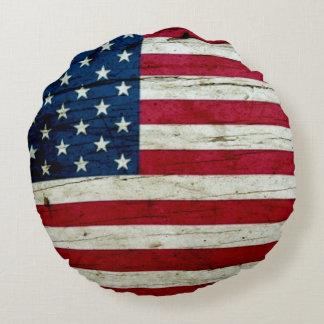 クールで素朴な米国旗 ラウンドクッション
