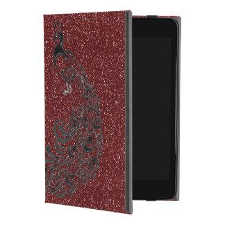 クールで赤いグリッターの黒の孔雀のiPadの箱 iPad Mini 4ケース
