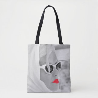 クールで赤い唇のレトロの女性のグラフィックアートのバッグ トートバッグ