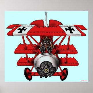 クールで赤い男爵の平らな芸術ポスターデザイン ポスター