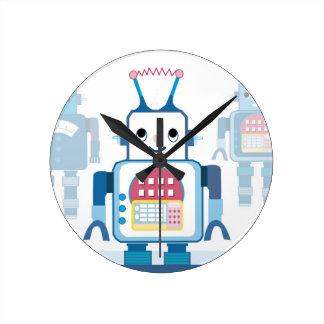 クールで青いロボットギフトのノベルティ ラウンド壁時計