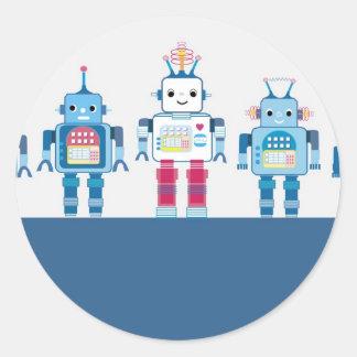 クールで青および赤いロボットノベルティのギフト ラウンドシール