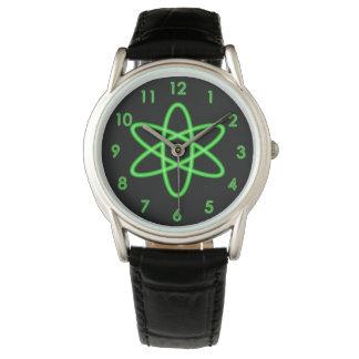 クールなおもしろいのユニークなネオン薄緑の原子記号 腕時計