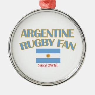 クールなアルゼンチン人のラグビーファンのデザイン シルバーカラー丸型オーナメント