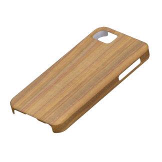 クールなカナリア色の木製の穀物の電話箱 iPhone SE/5/5s ケース