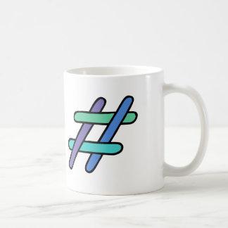 クールなカラフル# Hashtagの青緑の会合媒体 コーヒーマグカップ