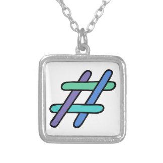 クールなカラフル# Hashtagの青緑の会合媒体 シルバープレートネックレス