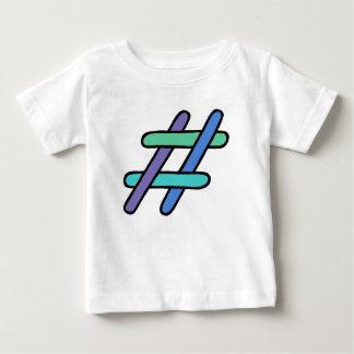 クールなカラフル# Hashtagの青緑の会合媒体 ベビーTシャツ