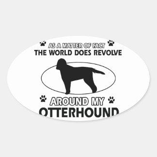 クールなカワウソ猟犬のデザイン 楕円形シール