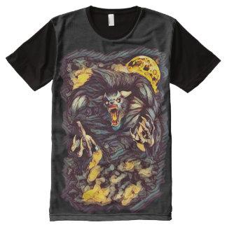 クールなキラー狼人間の暗い恐怖芸術 オールオーバープリントT シャツ