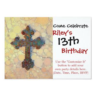 クールなキリスト教の十字の円のモザイク模様 カード