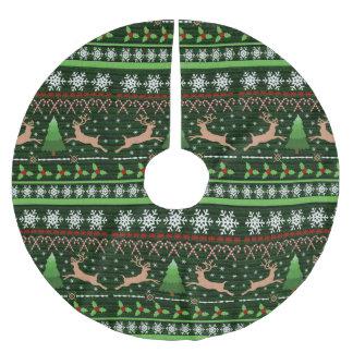 クールなクリスマスのセーターパターン ブラッシュドポリエステルツリースカート