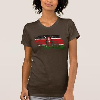 クールなケニアの旗のデザイン Tシャツ