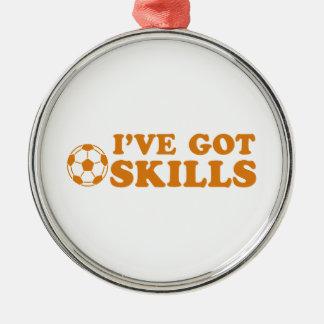 クールなサッカーのデザイン メタルオーナメント