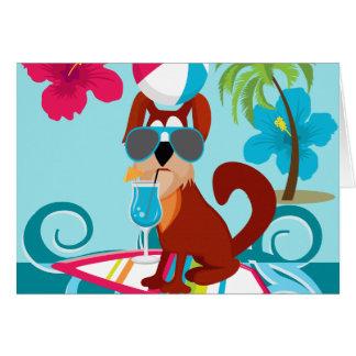 クールなサーファー犬のサーフボードの夏のビーチのパーティーのおもしろい カード