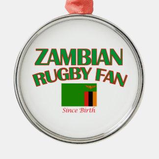 クールなザンビアのラグビーファンのデザイン メタルオーナメント