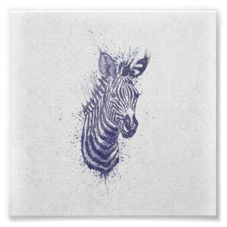 クールなシマウマの動物の水彩画の(ばちゃばちゃ)跳ねるのペンキ フォトプリント