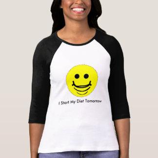 クールなスマイリーはRaglan袖のTシャツに直面しました Tシャツ