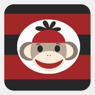 クールなソックス猿の帽子の帽子の赤い黒のストライプ スクエアシール