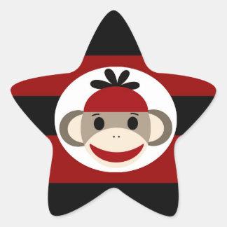 クールなソックス猿の帽子の帽子の赤い黒のストライプ 星シール