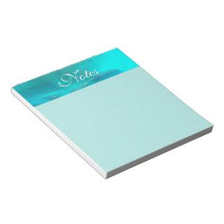 クールなティール(緑がかった色)の青い液体のプラスチックデザイン ノートパッド