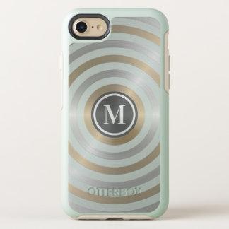クールなデザイナー金属のストライプパターン灰色のモノグラム オッターボックスシンメトリーiPhone 8/7 ケース