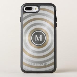 クールなデザイナー金属のストライプパターン灰色のモノグラム オッターボックスシンメトリーiPhone 8 PLUS/7 PLUSケース