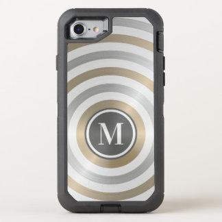 クールなデザイナー金属のストライプパターン灰色のモノグラム オッターボックスディフェンダーiPhone 8/7 ケース