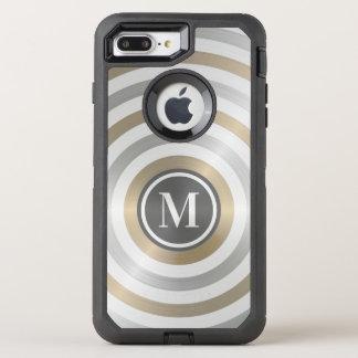 クールなデザイナー金属のストライプパターン灰色のモノグラム オッターボックスディフェンダーiPhone 8 PLUS/7 PLUSケース