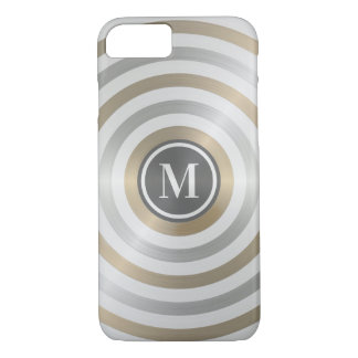 クールなデザイナー金属のストライプパターン灰色のモノグラム iPhone 8/7ケース
