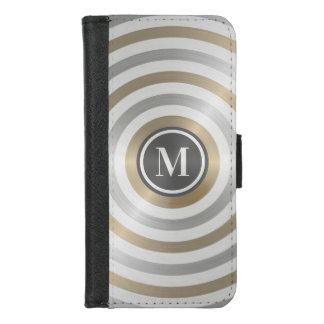 クールなデザイナー金属のストライプパターン灰色のモノグラム iPhone 8/7 ウォレットケース