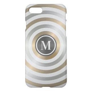 クールなデザイナー金属のストライプパターン灰色のモノグラム iPhone 8/7 ケース