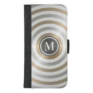 クールなデザイナー金属のストライプパターン灰色のモノグラム iPhone 8/7 PLUS ウォレットケース
