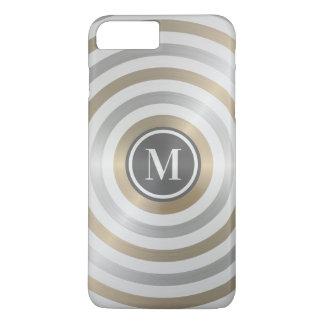 クールなデザイナー金属のストライプパターン灰色のモノグラム iPhone 8 PLUS/7 PLUSケース