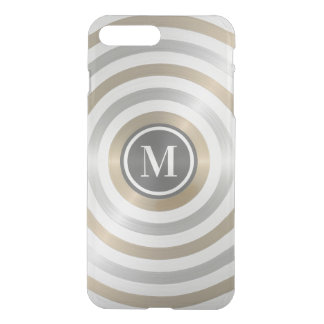 クールなデザイナー金属のストライプパターン灰色のモノグラム iPhone 8 PLUS/7 PLUS ケース