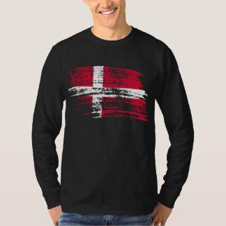 クールなデンマークの旗のデザイン Tシャツ